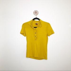 Tory Burch Mustard Marigold Short Sleeve Blouse